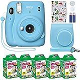 Fujifilm Instax Mini 11 Instant Camera Sky Blue Compatible Custom Case + Fuji Instax Film Value Pack (50 Sheets…