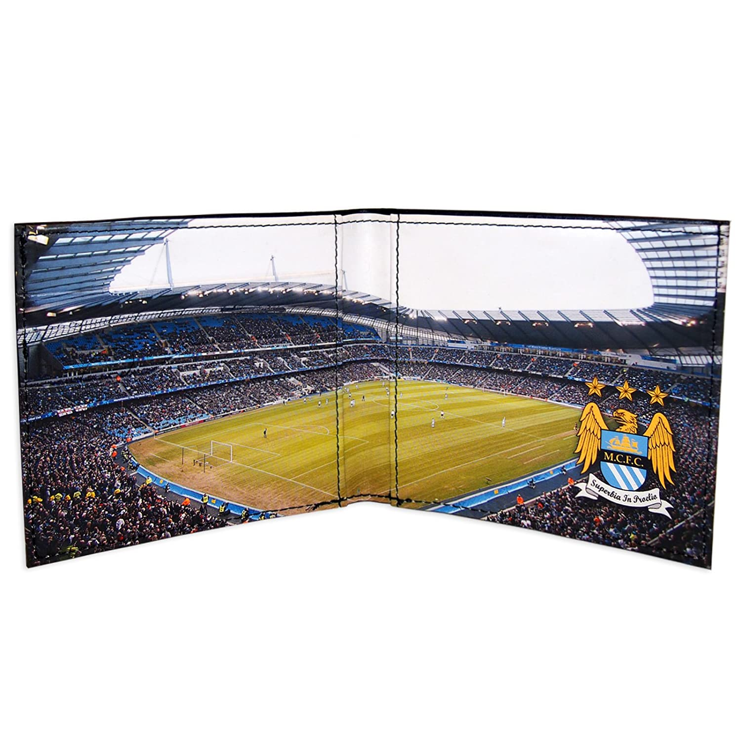 Manchester City FC Official Football Gift Embossed Crest Stadium Wallet Black