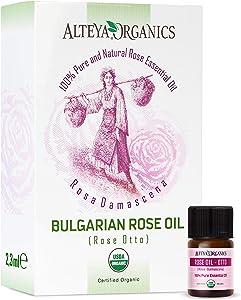 Alteya Organics Rose Essential Oil, Pure Certified Organic Bulgarian Rose Otto, 2.3mL Sample Size