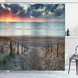 Ambesonne Beach Shower Curtain, Sun Setting View North Sea North Holland Netherlands Footsteps Outdoors Image, Cloth Fabric Bathroom Decor Set with Hooks, 70