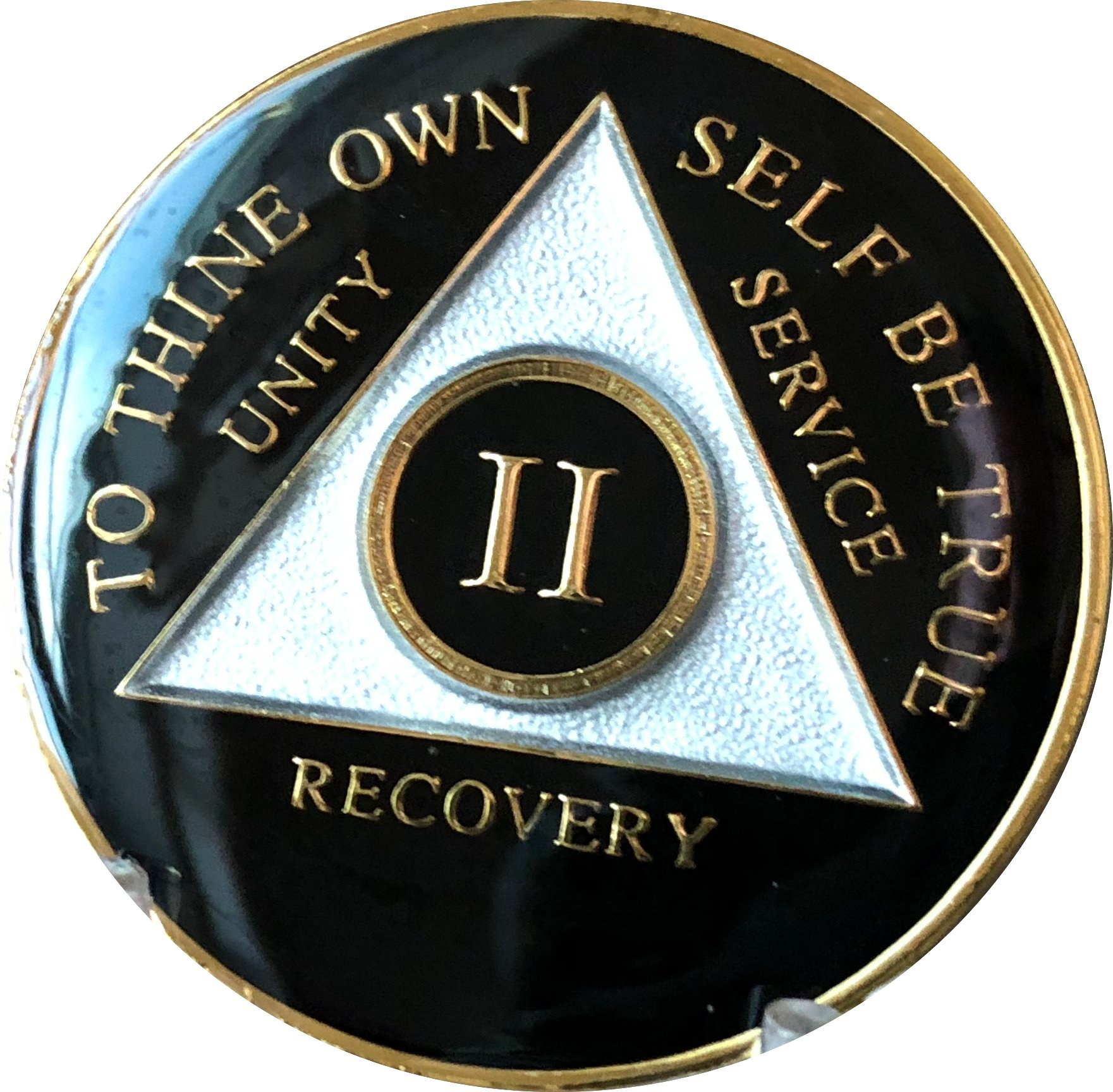 2 Year AA Medallion Glossy Black Tri-Plate Gold Plated Chip II by Recovery Mint (Image #3)