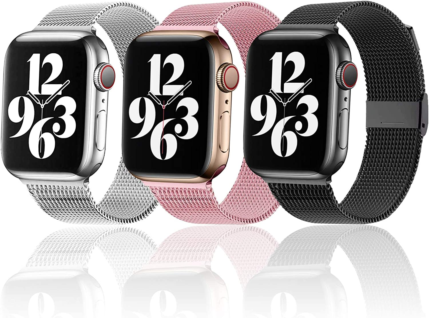 Magnetic iWatch Band Compatible for apple Watch 38mm 40mm 42 mm 44mm,Stainless Steel Mesh Loop metal Sport Wristband Compatible for iWatch Series 6/5/4/3/2/1/SE