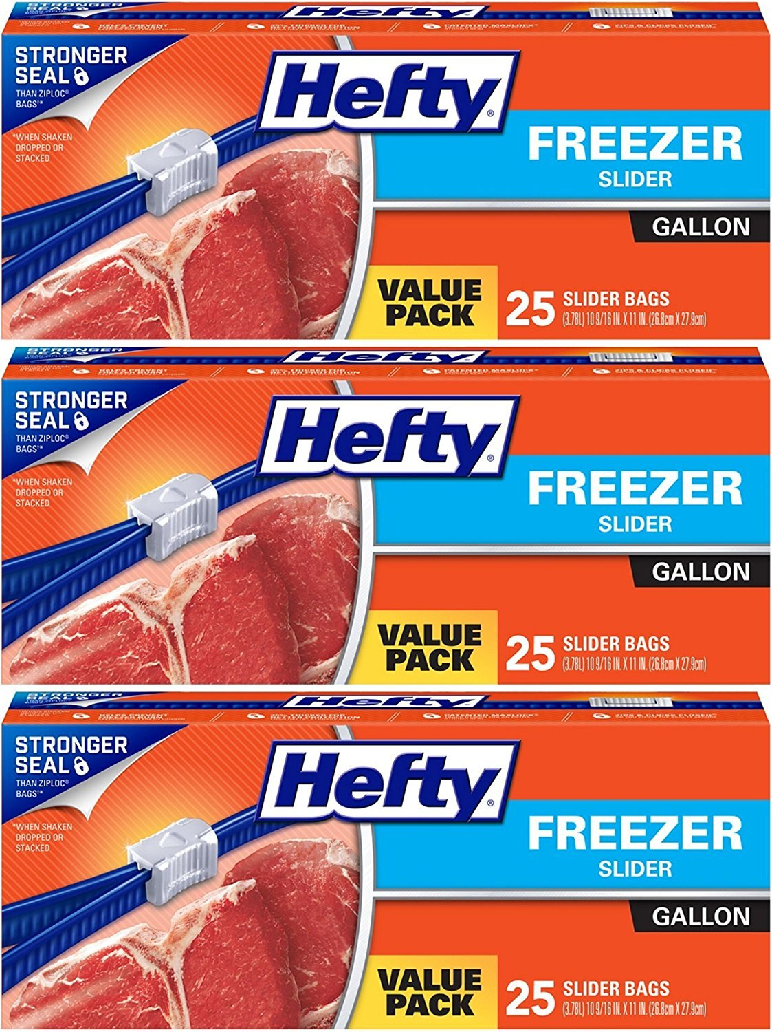 Hefty Slider Freezer Bags, Gallon, Value Pack, 25 Count (Pack of 3) 75 Bags Total