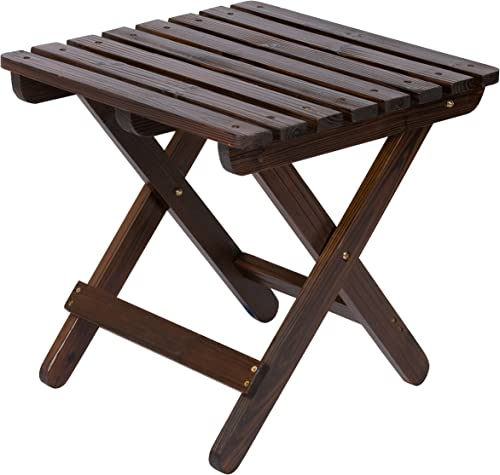 Shine Company Adirondack Square Folding Table, Burnt Brown