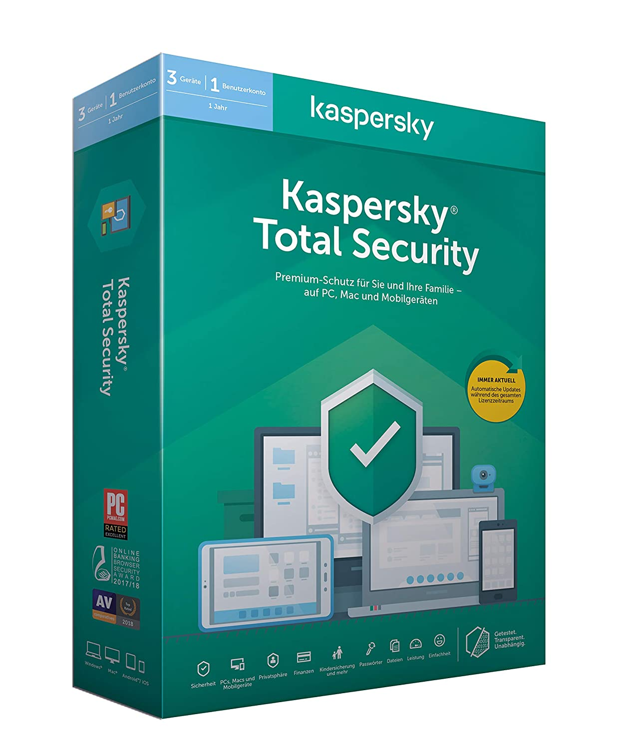 Kaspersky Total Security (Code in a Box). Für Windows 7/8/10/MAC/Android