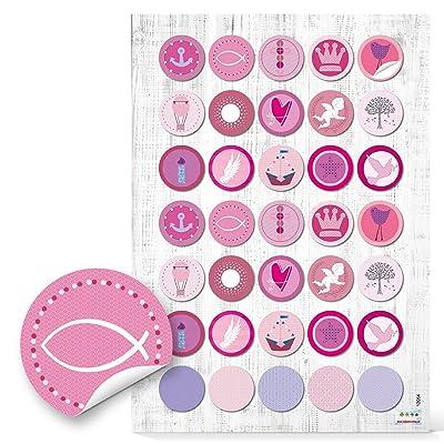 """'70 redondas color rosa """"Bautismo Comunión Chica 3 cm de diámetro; Pegatinas para Decorar y embellecer de regalos Tarjetas libros uvm. Calidad 1 a: Oficina y papelería"""