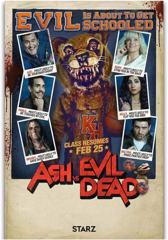 Ash vs Evil Dead Season 3 Horror Serie de TV Mostrar carteles e impresiones Póster Artístico Pintura en lienzo Decoración para el hogar -50x70cm Marco interior de madera