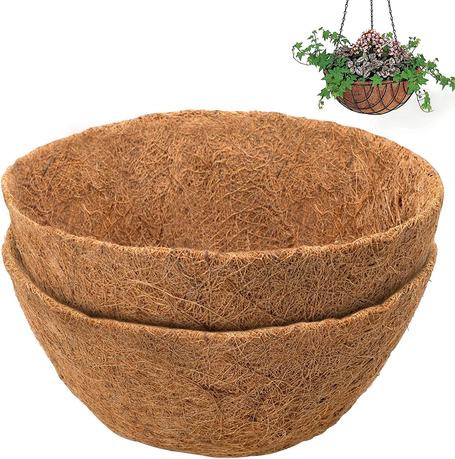 COSYLAND 2PCS 14 inch Round Coco Liners for Hanging Basket Coconut Fiber Planter Replacement Liner for Garden Flower Pot