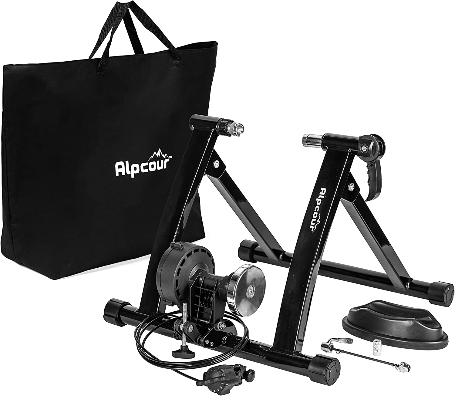 Alpcour Bike Trainer Stand – Portable Stainless Steel Indoor Trainer w/Magnetic Flywheel, Noise Reduction