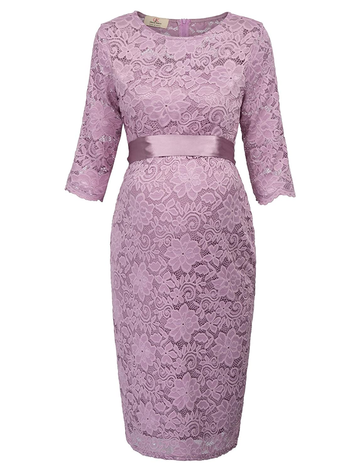 GRACE KARIN Maternity Women Half Sleeve Hips-Wrapped Lace Party Dress