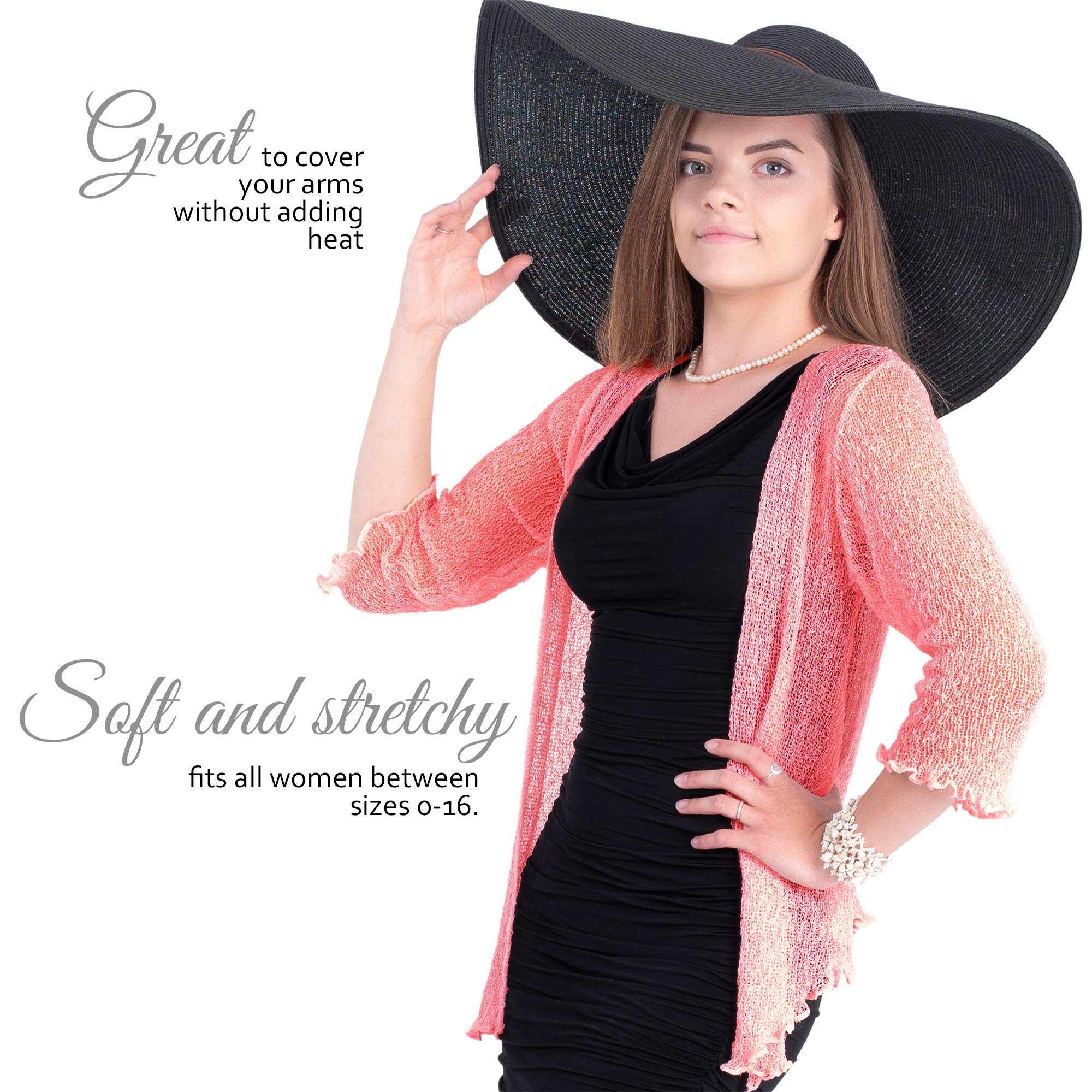 Boho Village Lightweight Cardigans for Women - 3/4 Sleeve Shrugs for Dresses. Dark Pink/Salmon Pink Size S-XL by Boho Village (Image #2)