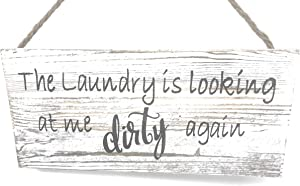 Preferred Crafts Funny Laundry Room Decor Rustic Farmhouse Sign Wall Decoration Housewarming Gift-The Laundry is Looking at me Dirty Again