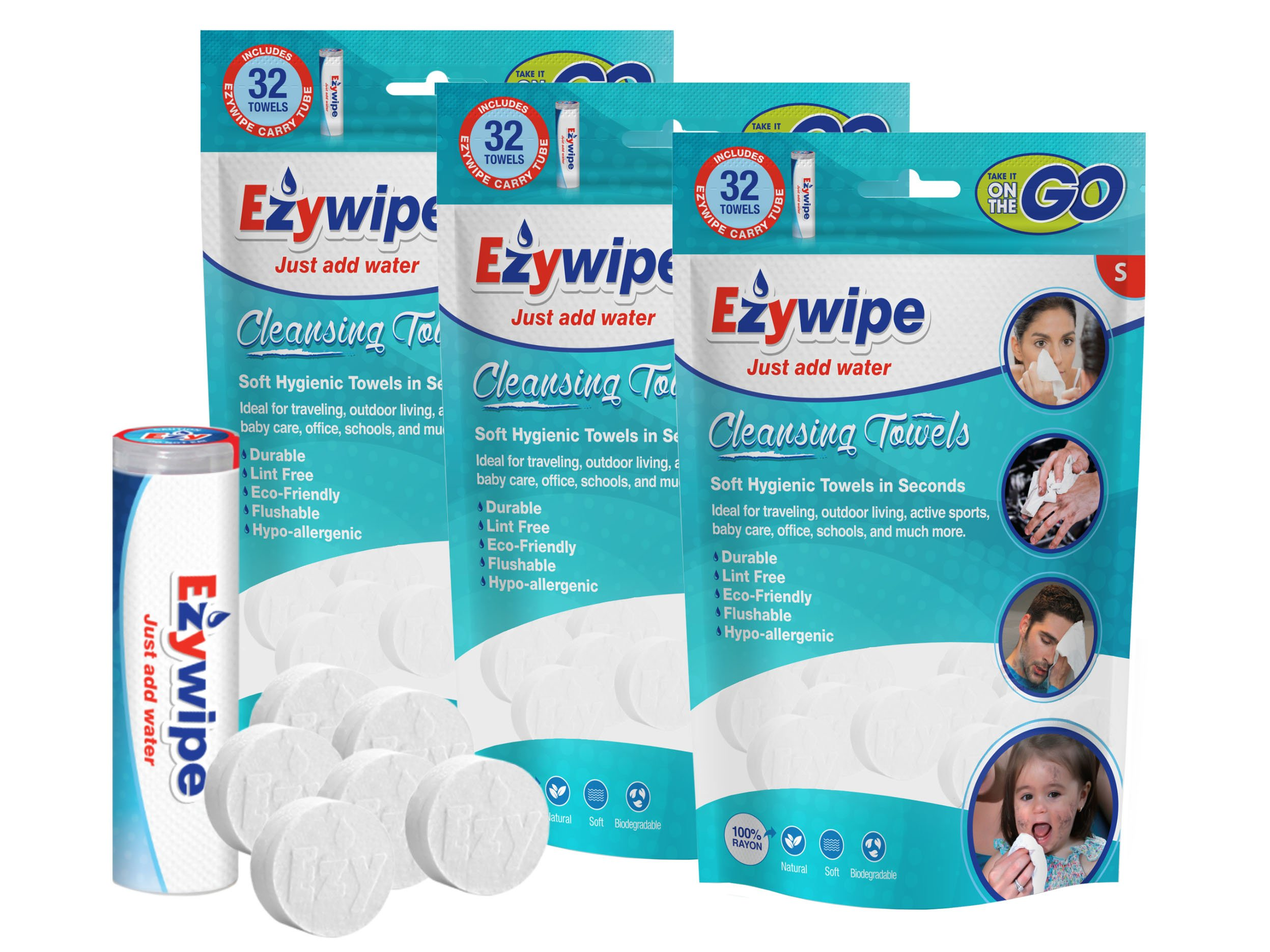 Ezywipe Compressed Cleansing Towels 3 Packs of 32 Small 100% Rayon Certified Bio-degradable Hypo-allergenic Anti-Microbial Anti-Bacterial for Travel Camping Home Family Pet Baby Seniors Personal Care