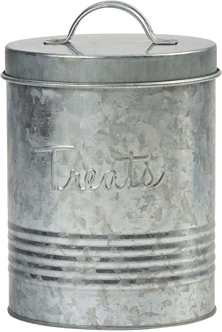 Amici Pet, , Retro Treats Galvanized Relief Lettering Metal Storage Canister, Food Safe, Push Top, 72 Ounces