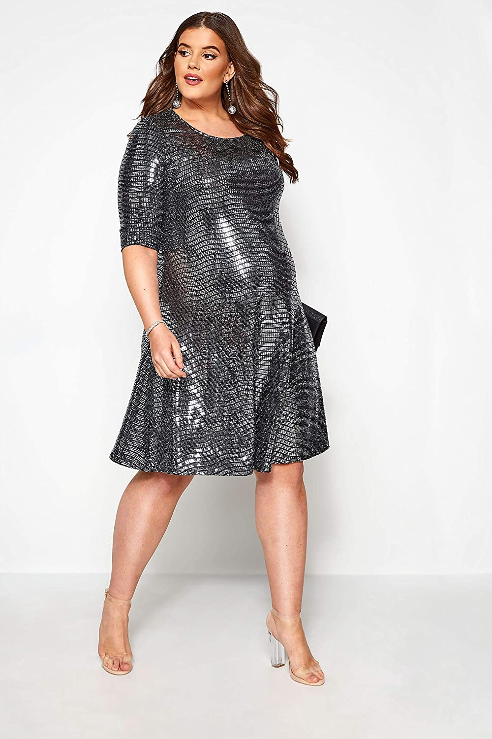 Yours Clothing Womens Plus Size Maternity Sparkle Swing Dress