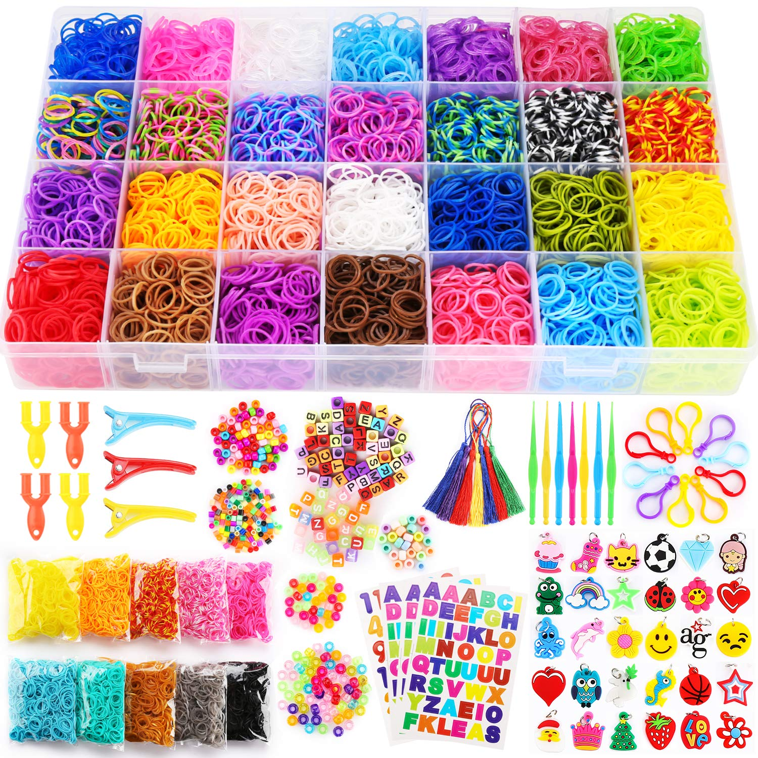 19500+ Rainbow Rubber Bands Refill Kit, 38 Colors Loom Bands, 800 S-Clips, 4 Y Looms, 300 Beads, 52 ABC Beads, 30 Charms, 10 Backpack Hooks, 7 Tassels, 7 Crochet Hooks and ABC Stickers by Parhlen