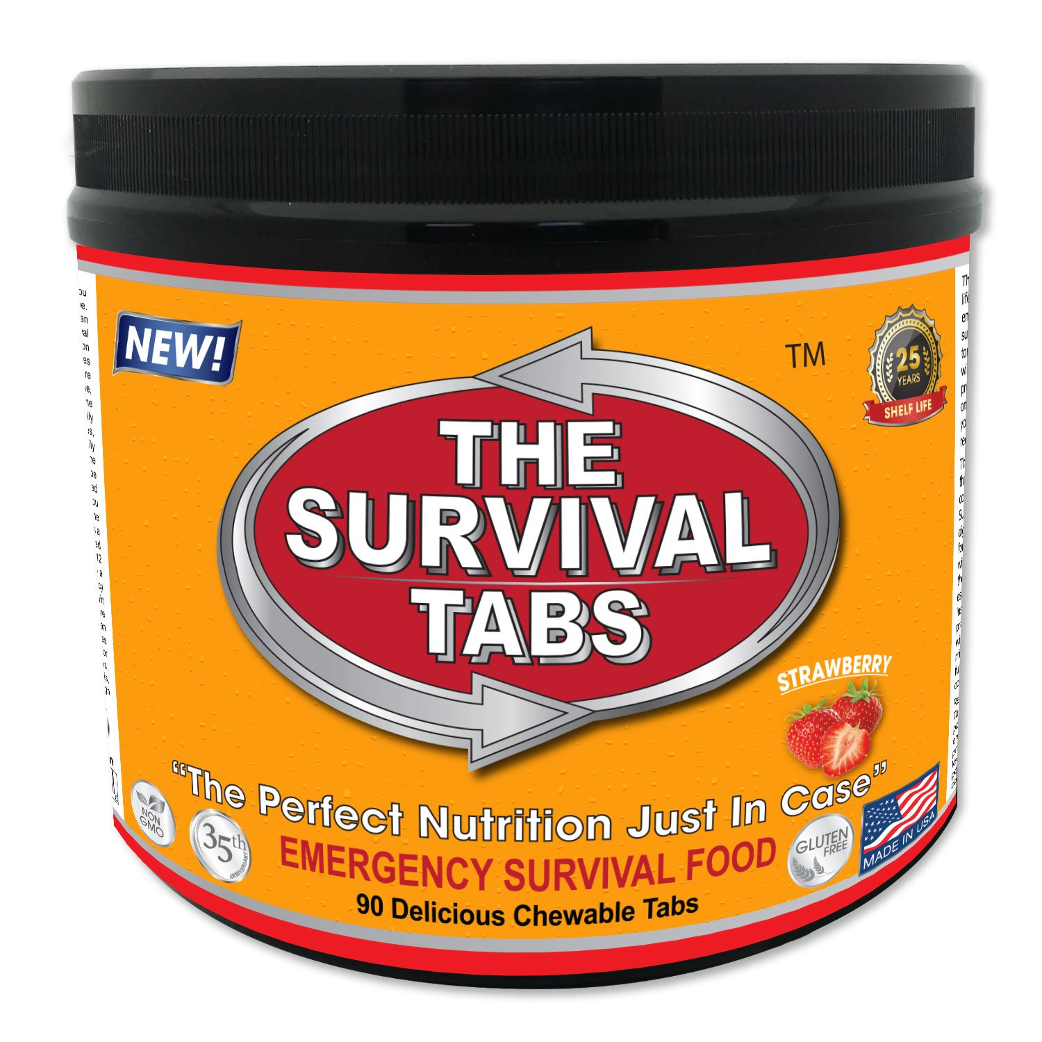 Survival Tabs 7-day Food Supply Emergency Food Ration 90 tabs Survival MREs for Disaster Preparedness for Earthquake Flood Tsunami Gluten Free and Non-GMO 25 Years Shelf Life - Strawberry Flavor LOHAS FARMS