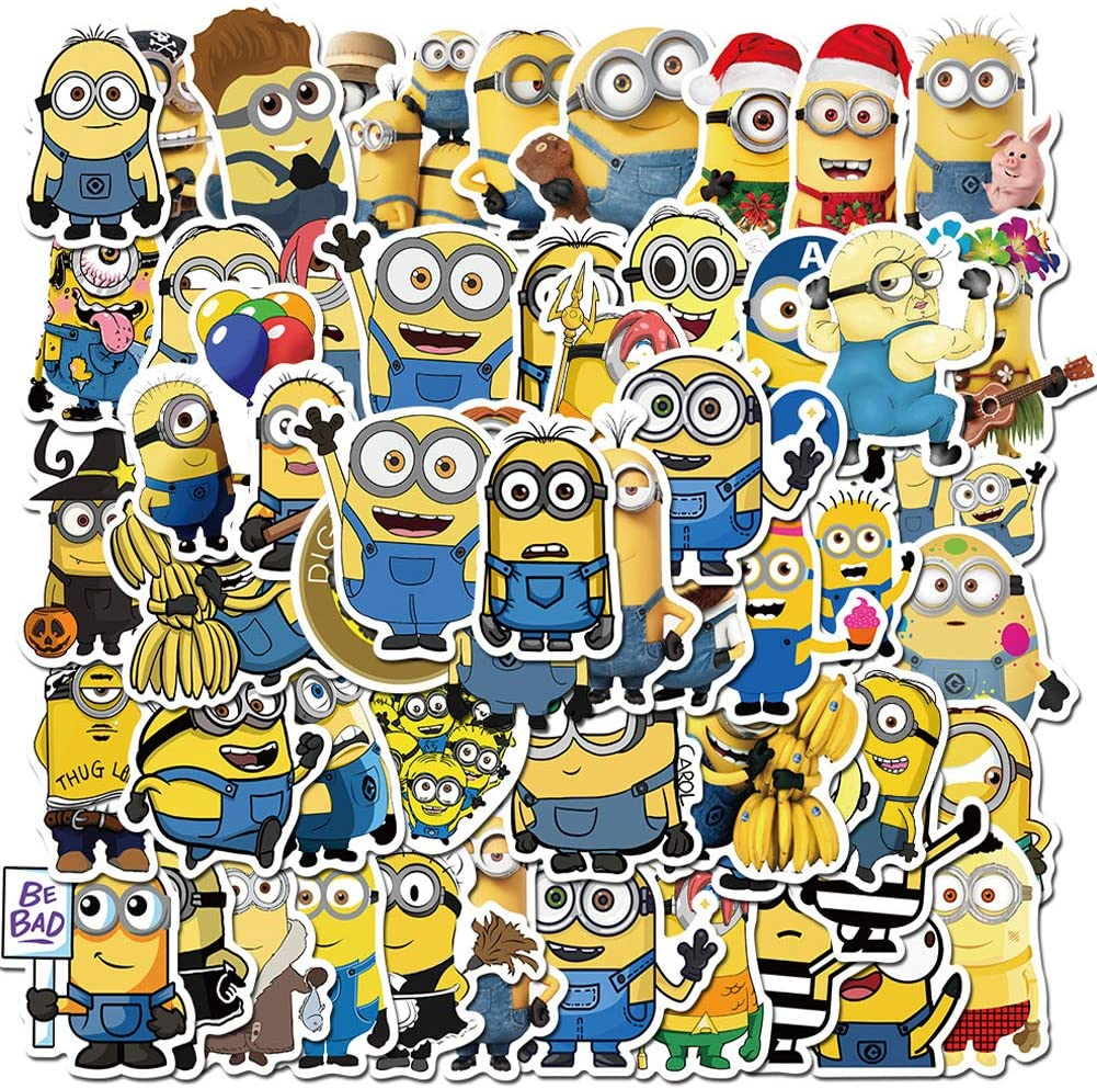 Minions Stickers, 50PCS Waterproof Anime Stickers for Water Bottles Laptop Skateboard Luggage Decals Best Gift for Kids Teen
