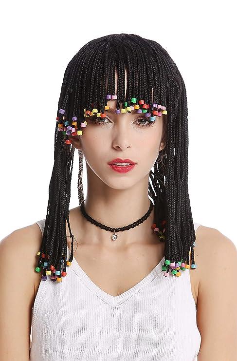 WIG ME UP ® - MH-F152-ZA103 Peluca Mujer Hombre Carnaval Halloween Rayas Trenzado con Perlas Estilo Afro Caribe Negro Flequillo cortesana Hippy