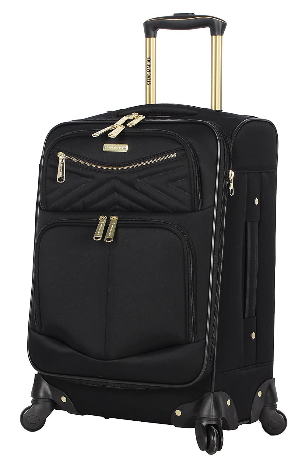 Steve Madden Luggage Carry On 20 Expandable Softside Suitcase With Spinner Wheels Rockstar Black, 20in