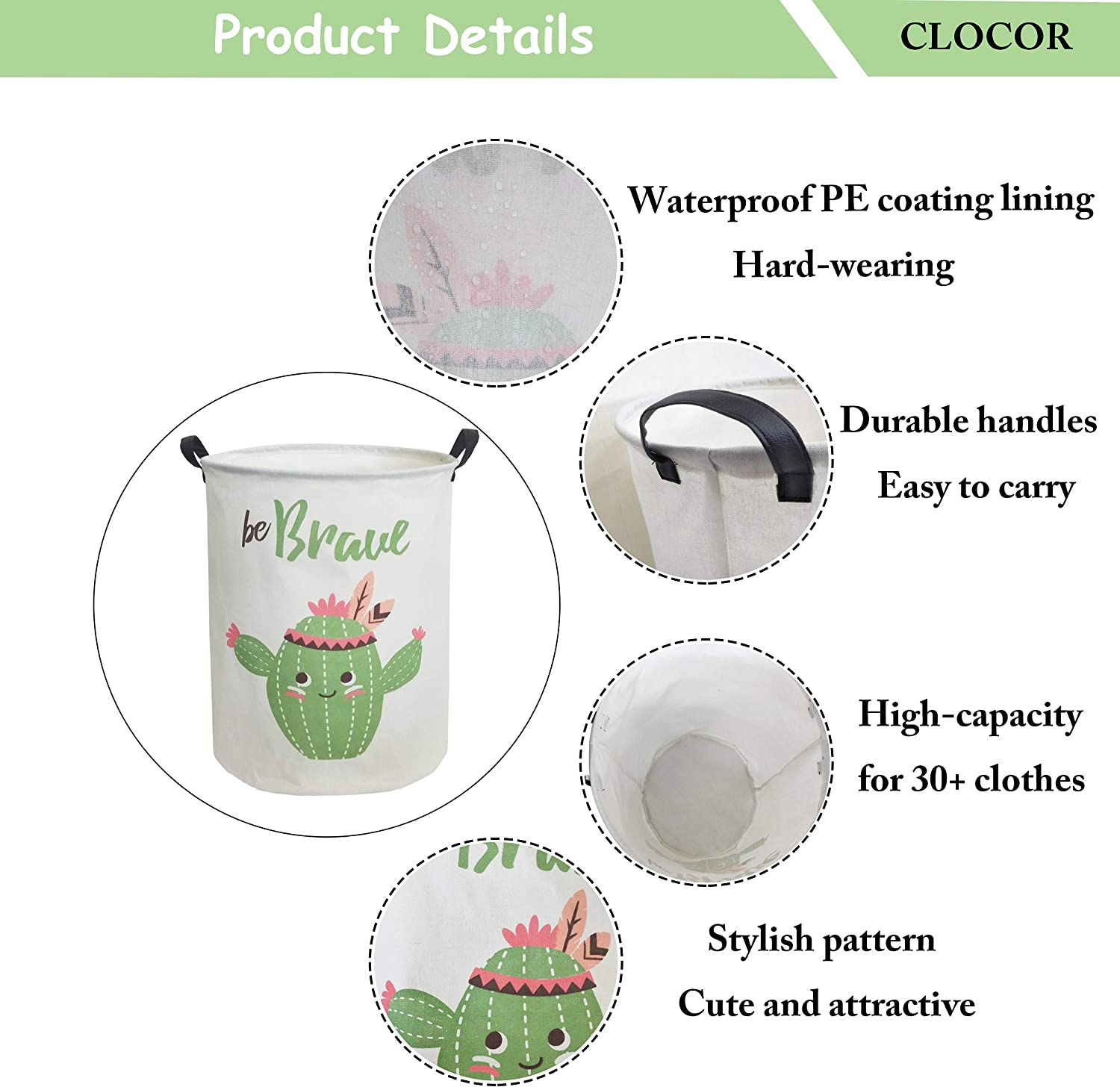 CLOCOR Large Storage Basket,Canvas Fabric Waterproof Storage Bin Collapsible Laundry Hamper for Home,Kids,Toy Organizer Bear