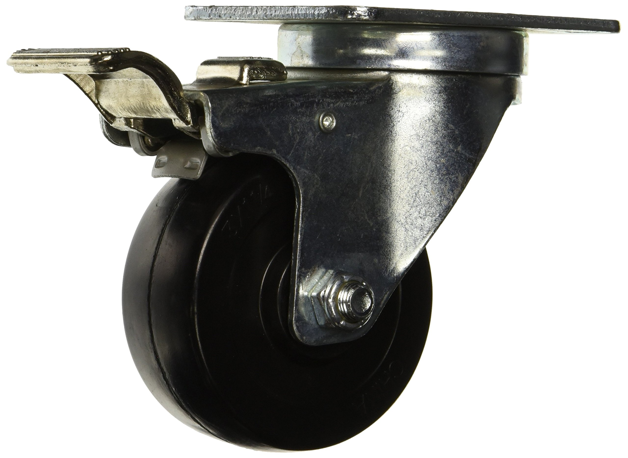 RWM Casters 27-HRO-0312-S-TLB 27 Series Versatrac 4-1/4'' High, 3'' Hard Rubber Wheel, Swivel Caster, Total Lock Brake by RWM Casters