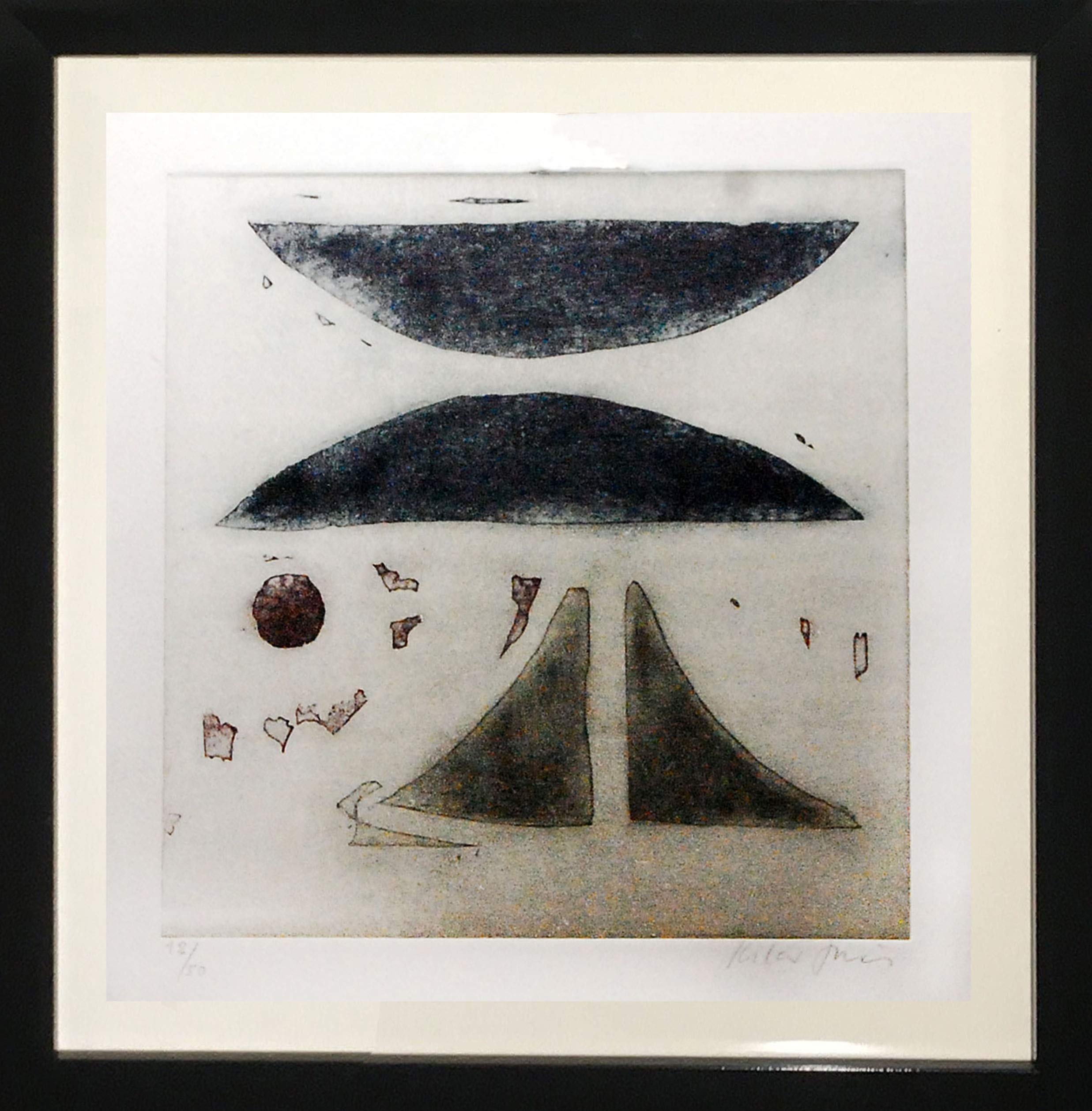 Framed Abstract Art Etching by