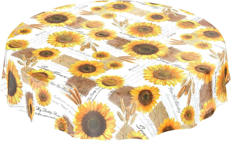 ANRO Mantel Encerado para Mesa de Verano, Girasoles, Trigo, Redondo, 120 cm, Toalla, Borde de Corte, Rund 120cm
