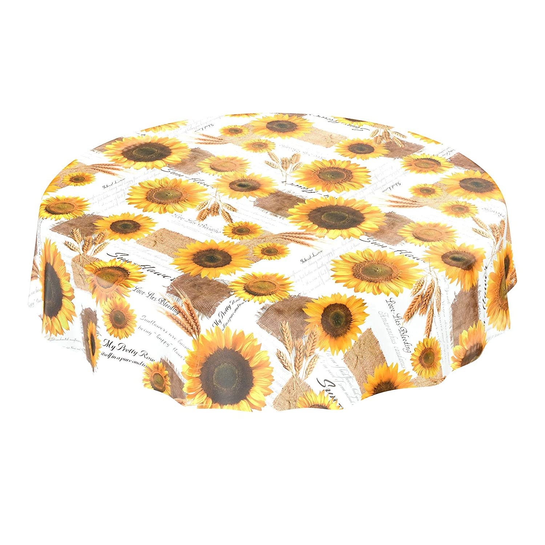 veraniego amarillo tama/ño a elegir Mit Muster con girasoles y trigo lavable Rund 100cm Mantel de hule encerado toalla