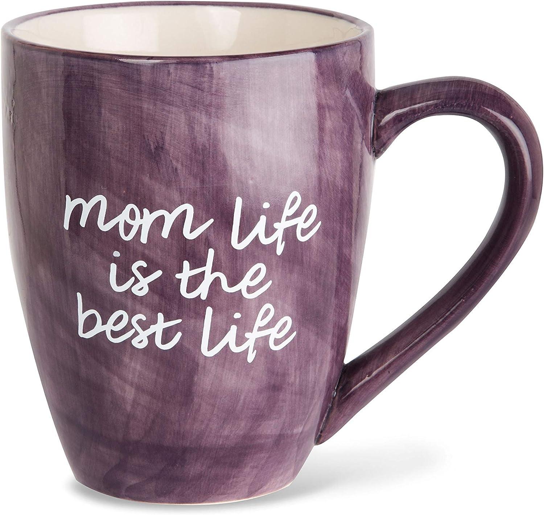 Mom Life Mom Life is the Best Life Deep Purple Large 20 oz Ceramic Coffee Mug Tea Cup, Purple