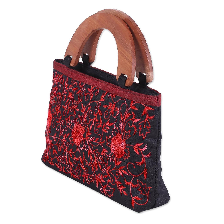 Rose Elegance NOVICA Black Embroidered Handbag