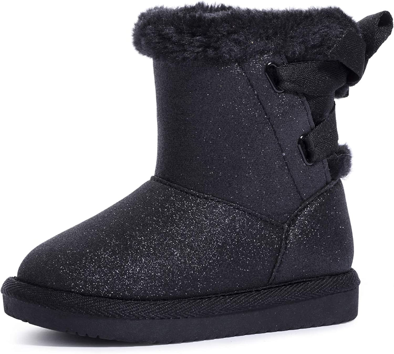 KRABOR Girls Glitter Snow Boots Cotton