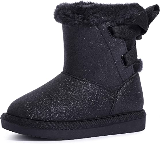 Toddlers Girls Kids Winter Suede Ankle Boots Warm Booties Fur Lined Snow Shoes