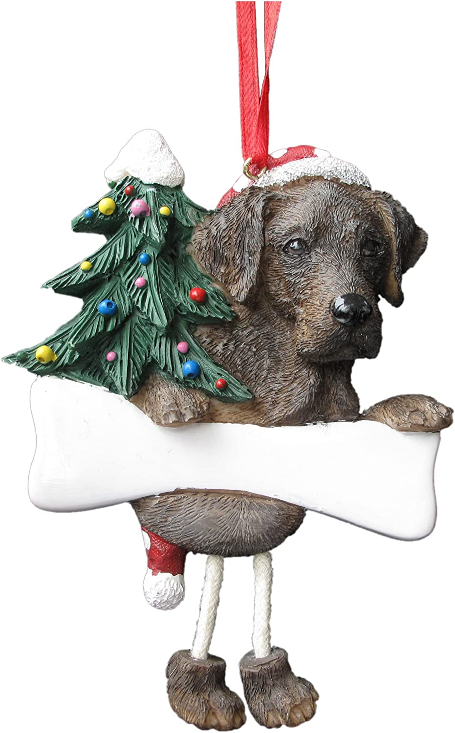 DogBone LAB RETRIEVER CHOCOLATE w//Dog Bone /& Lights Resin Christmas Ornament