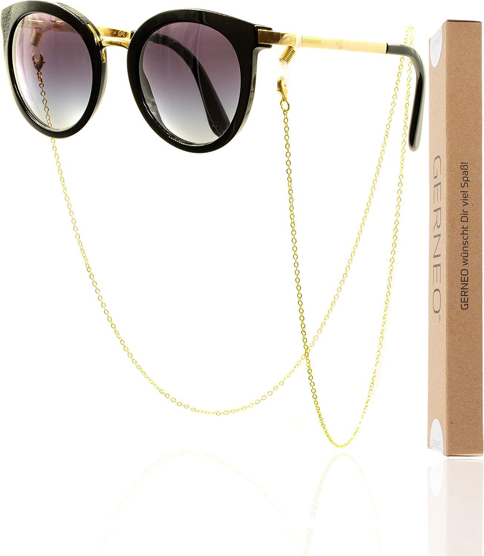 aus 925er Silber Kollektion 2020 GERNEO Kette silber mit bunten F/ähnchen- Unisex f/ür Lesebrille /& Sonnenbrille Premium Brillenkette /& Brillenband DAS ORIGINAL