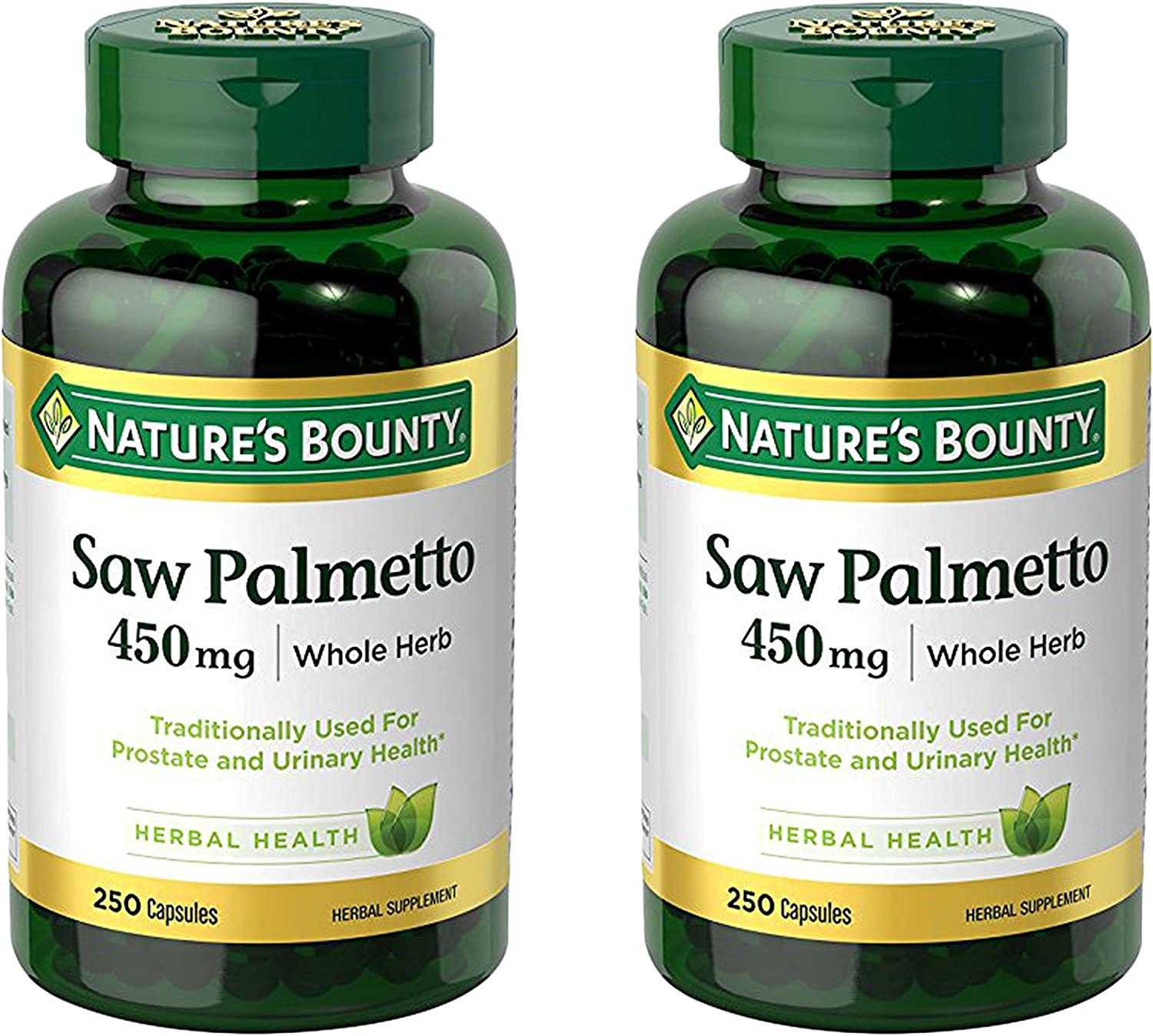 Nature's Bounty Saw Palmetto 450 mg Capsules 250 ea (Pack of 2)