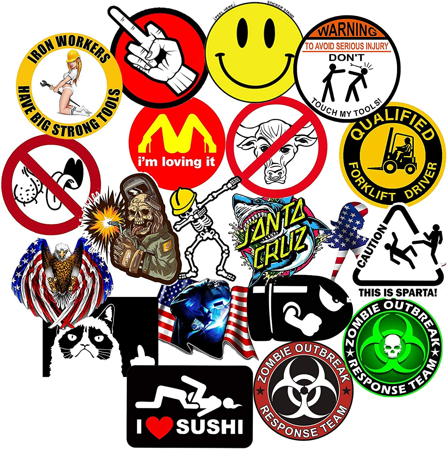 Lunch Box 4x4Large Stickers 20-Pcs Funny Decals / Crude Humor Hilarious Hard Hat Prank Decal Joke Sticker Funny Laugh Construction LOL 100/% Vinyl GTOTd Stickers for Union Hard Hat Tool Chest
