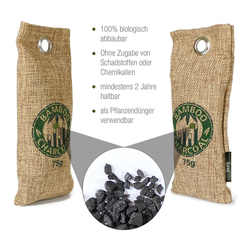 Purificador de aire de bamb/ú para ba/ño 500 g coche sin contaminantes y 100/% biodegradable cocina Amazy Bolsa de carb/ón activo de bamb/ú