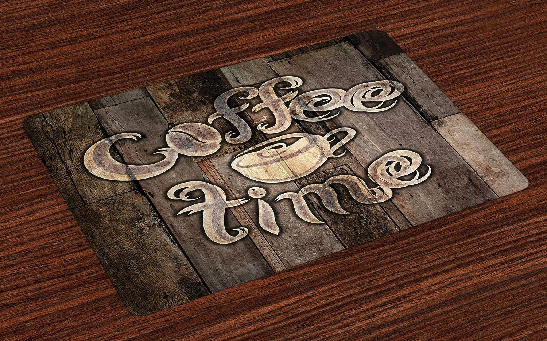 Ocre Frase Tiempo de Caf/é con Taza en Fondo de Madera Desgastado Imagen para Cocina para el Comedor o la Cocina Estampa Digital Lavable ABAKUHAUS Moderno Salvamantel Set de 4 Unidades