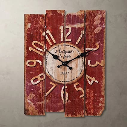 Amazon.com: SMC H15 Country Style Vintage Wall Clock Home Decor Wood ...