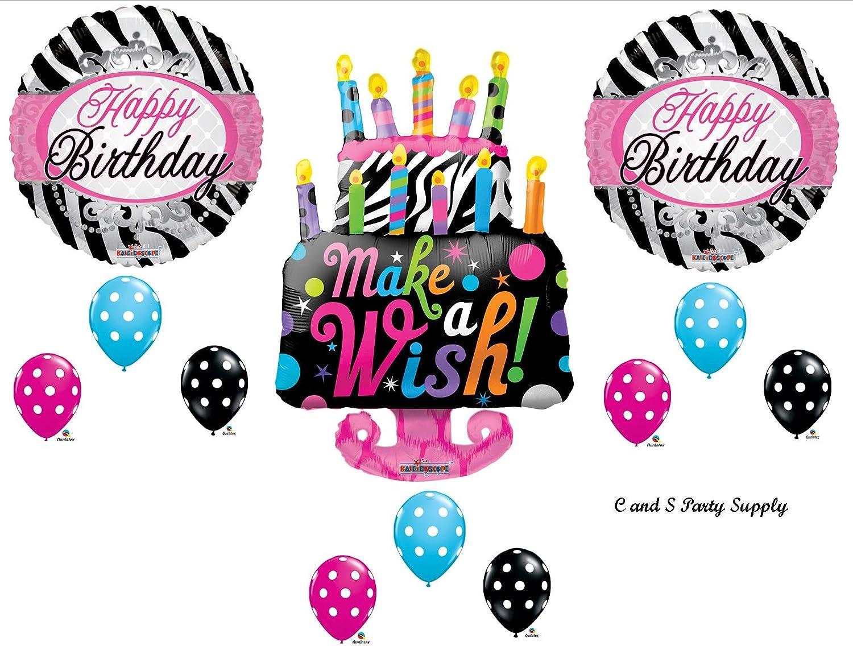 Cool Amazon Com Zebra Cake Make A Wish Birthday Party Balloons Funny Birthday Cards Online Sheoxdamsfinfo