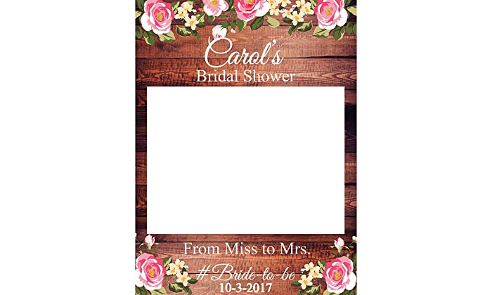 Flower Bridal Shower Photobooth Props Sizes 36x24 48x36 Personalized Rustic Decor Bridal Shower Decorations Wedding Photo Booth Props Wooden