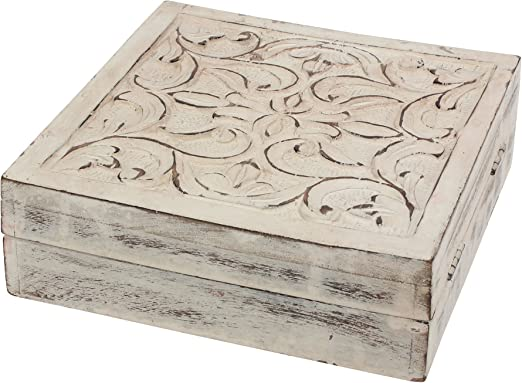 Amazon Com Stonebriar Worn White Wooden Keepsake Trinket Box With Hinged Lid And Carved Floral Design Decorative Small Jewelry Box Gift Idea For Birthdays Christmas Weddings Or Any Special Occasion Home Kitchen
