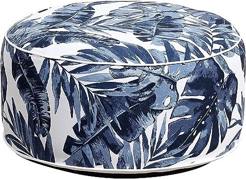 Ove Decors Blue Leaf Marlowe Ottoman