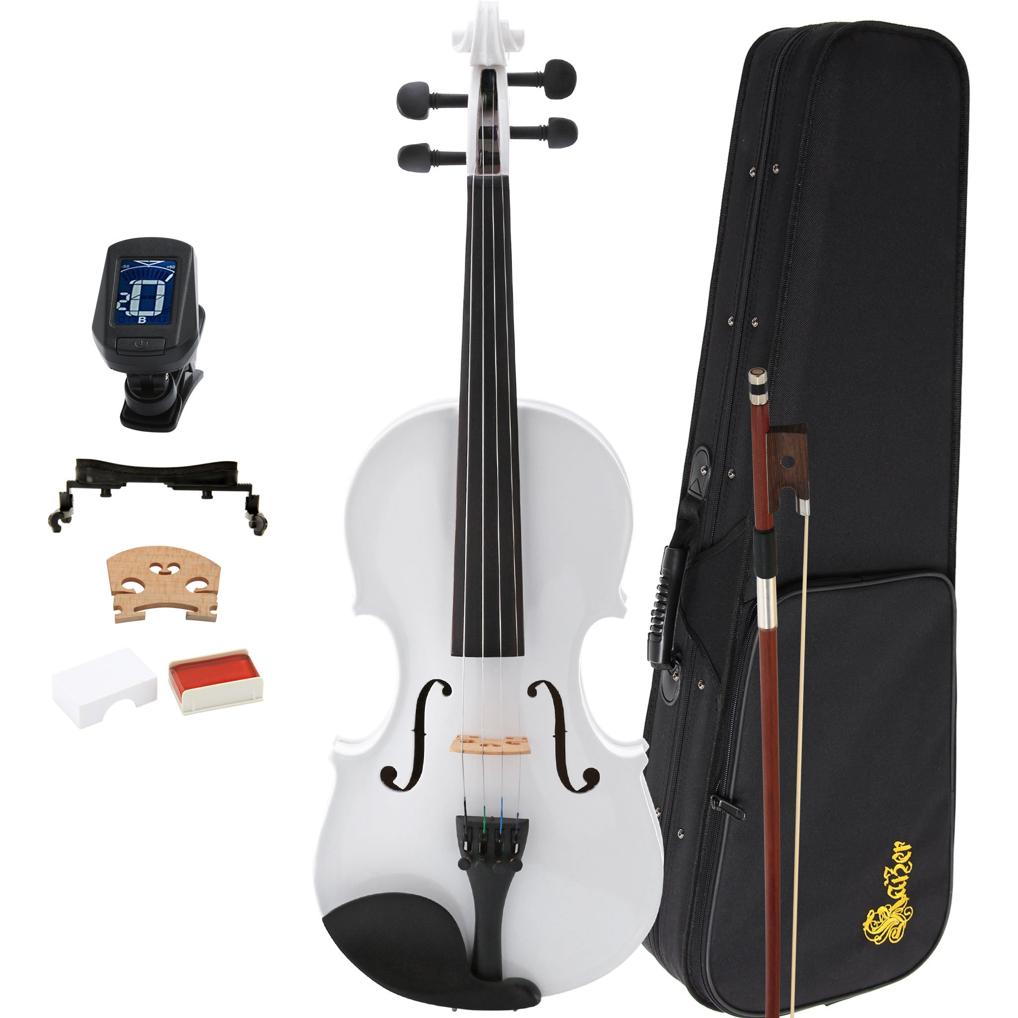 Kaizer Violin Acoustic Full Size 4/4 White Varnished Includes Case Bow Tuner and Accessories VLN-1000WH-4/4-TNR