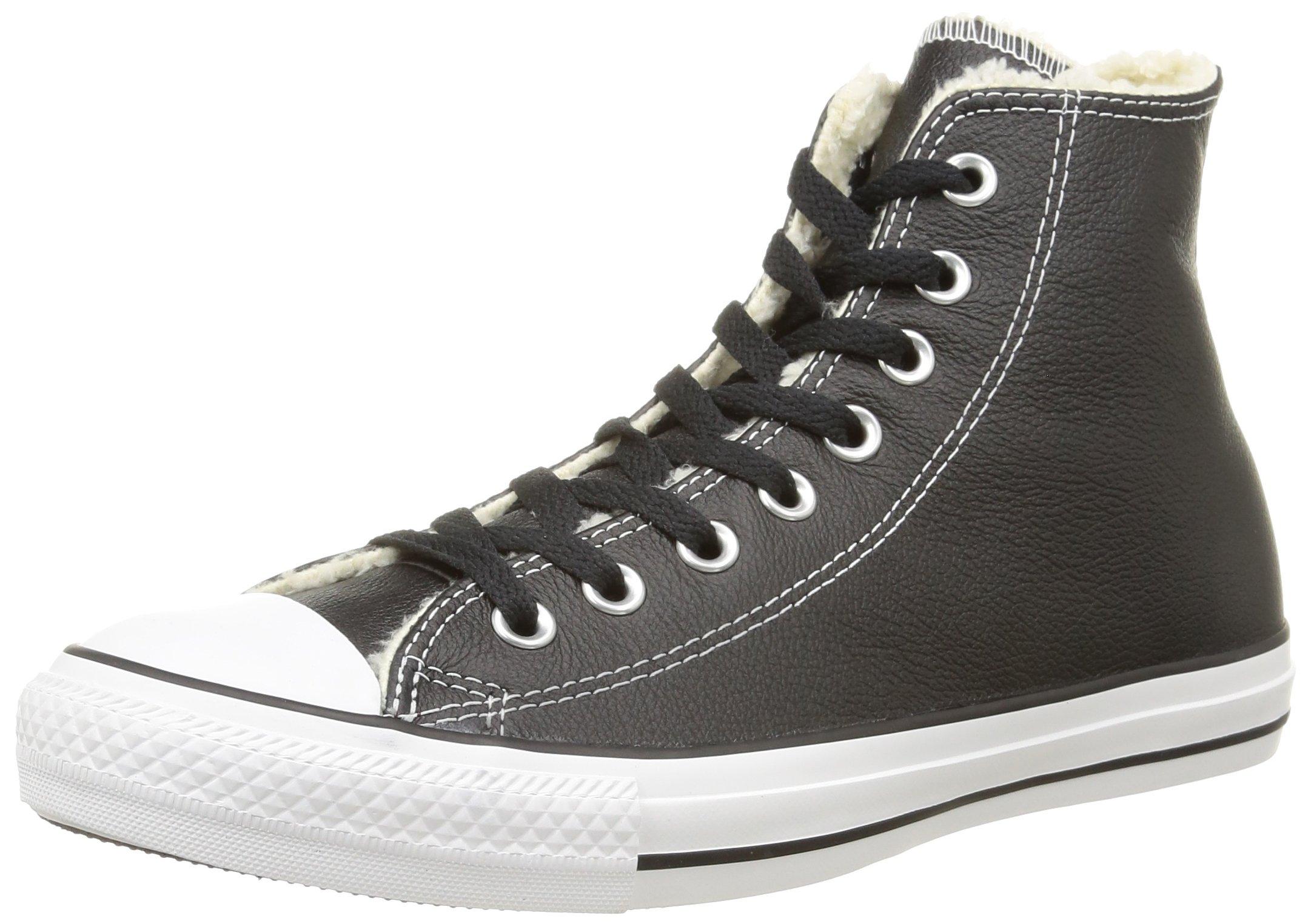 3e054a8ca39 Galleon - Converse Unisex Chuck Taylor Shearling Leather Black White Black  Sneaker - 7.5 Men - 9.5 Women