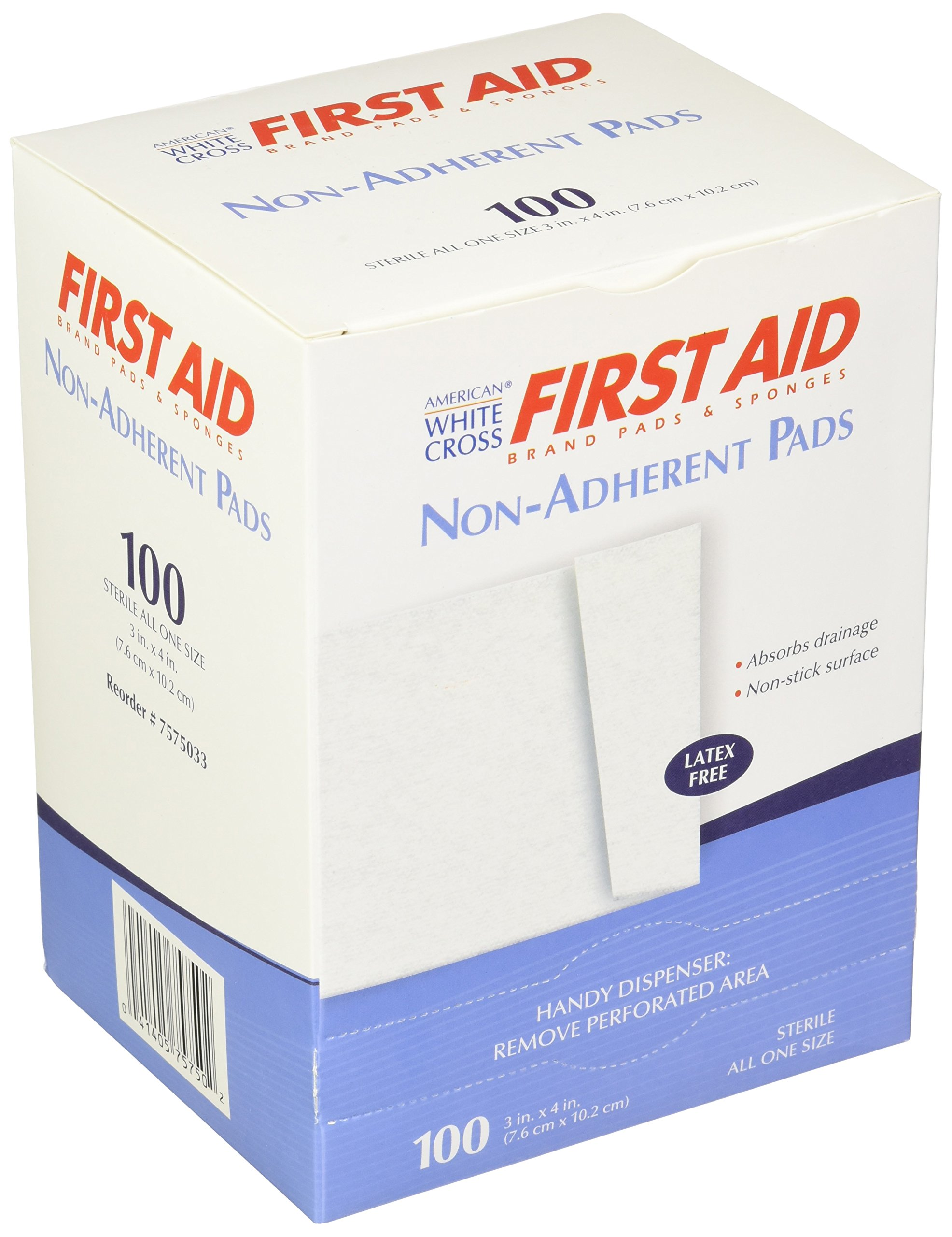 American White Cross 7575033 Sterile Non Adherent Pad, 3'' x 4'', 1/Pack, 100 Pack/Box, 12 Box/Case (Pack of 1200)
