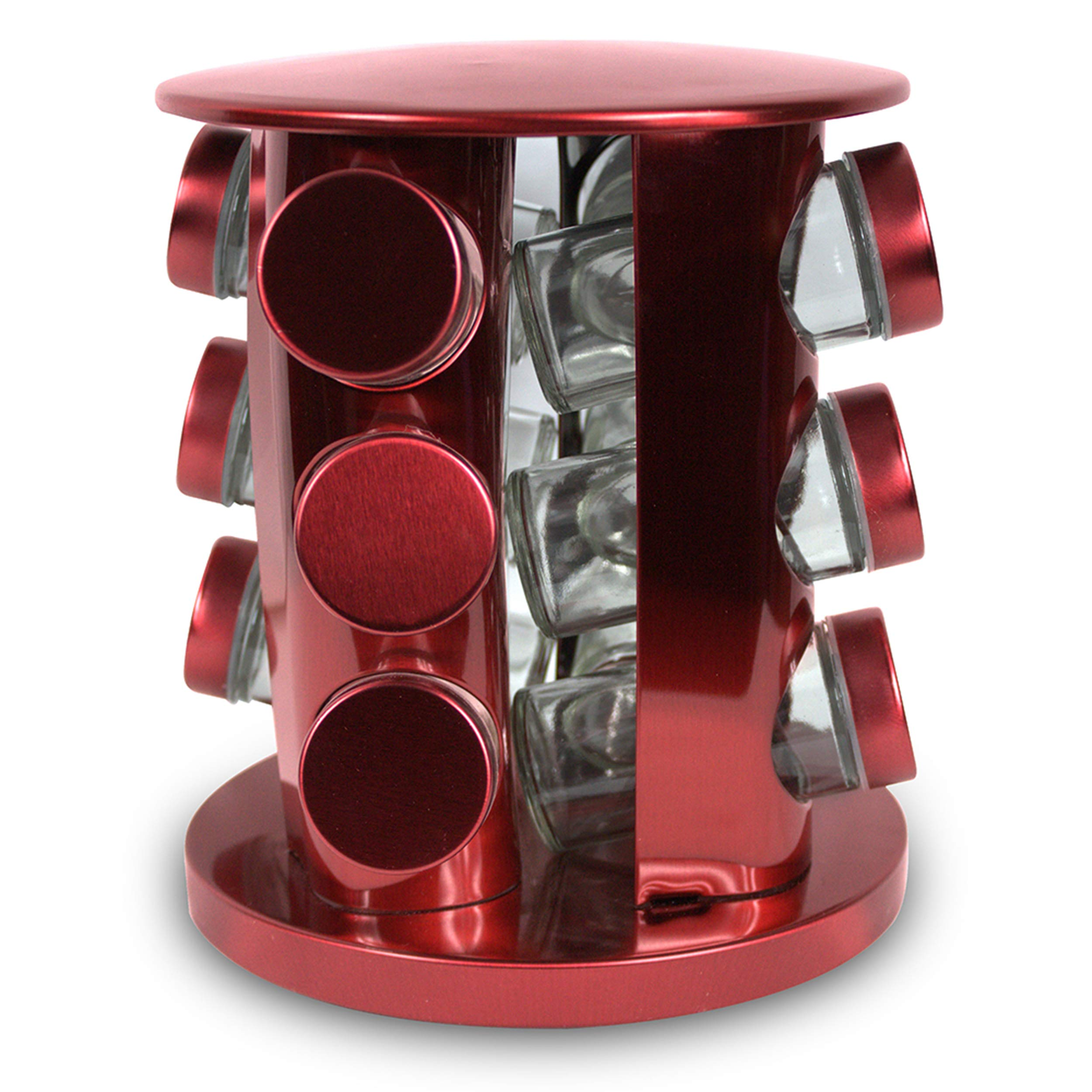 Rotating Kitchen Spice Rack Carousel 12 Jar Organizer for a Clutter Free Counter Top Metallic Red - Grand Sierra Designs by Grand Sierra Designs