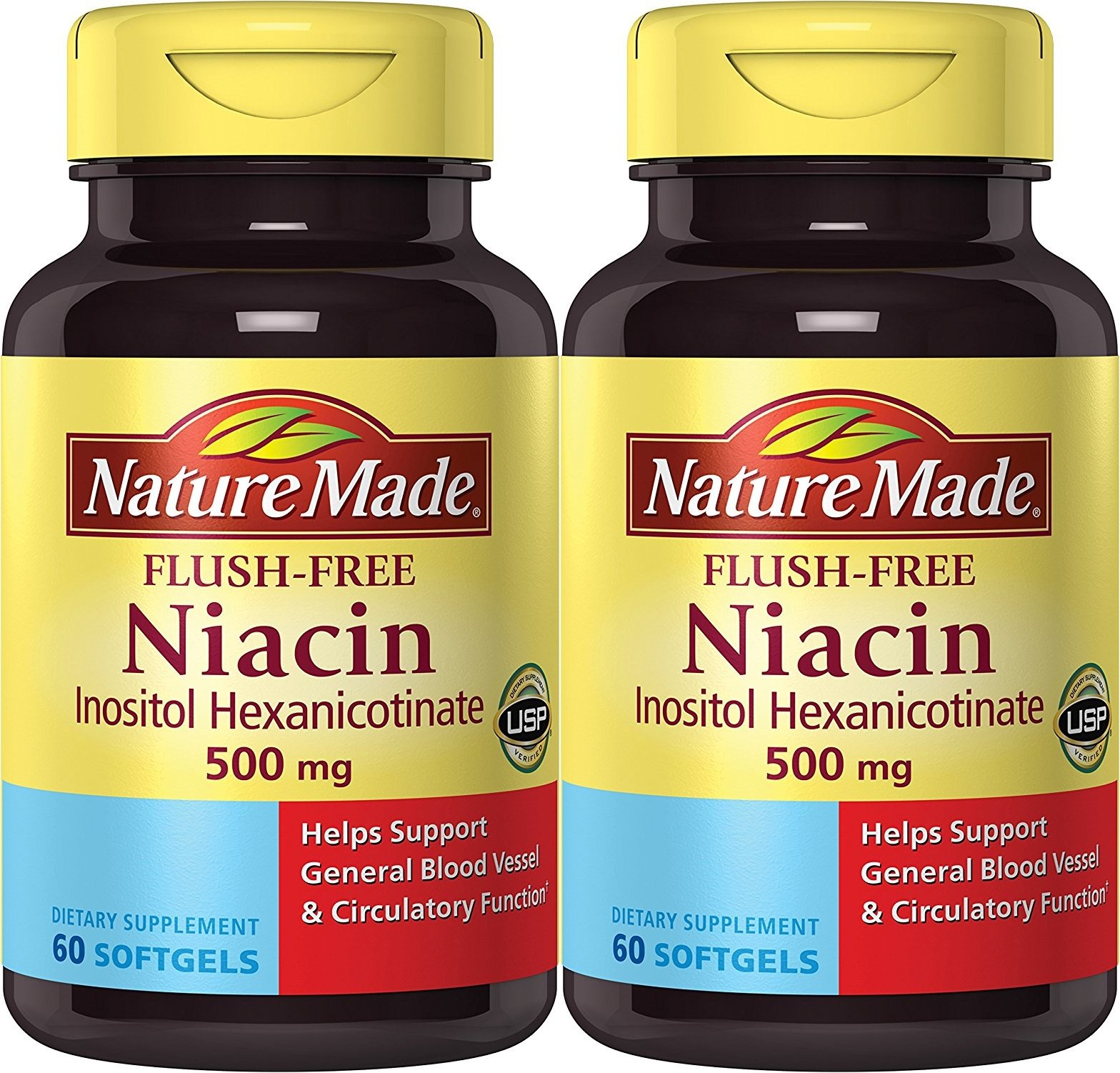 Nature Made Flush-Free Niacin (B3) 500 mg. 60 Softgels (Pack of 2)