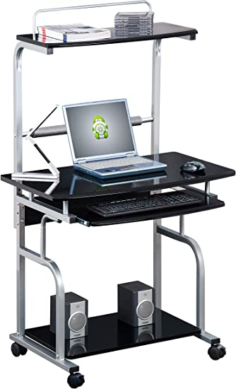 Scrivania per Computer con rotelle Acero Bianco Cocoarm Scrivania per Laptop Regolabile in Altezza 60cm con rulli Scrivania con Tavolo per Computer con rotelle